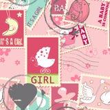 Naadloos patroon met babypostzegels Stock Afbeeldingen