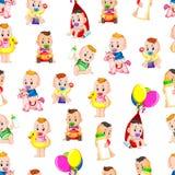 Naadloos patroon met babys het gelukkige spelen vector illustratie