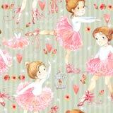 Naadloos patroon met Ballerina Leuk ballerinameisje Ballerinawaterverf royalty-vrije illustratie