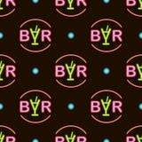 Naadloos patroon met bar van de neon de heldere tekst op zwarte achtergrond Vector illustratie stock illustratie