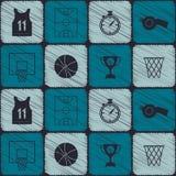 Naadloos patroon met basketbalpictogrammen stock illustratie