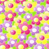 Naadloos patroon met beeldverhaalbloemen Stock Fotografie