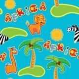 Naadloos patroon met beeldverhaaldieren - giraf, leon en zebra Stock Foto's