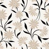 Naadloos patroon met beige bloemen en zwarte bladeren Vector illustratie Stock Fotografie