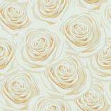 Naadloos patroon met beige rozen Stock Afbeeldingen