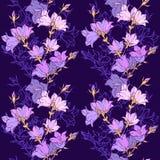 Naadloos patroon met bellflowers Patroon 08 Stock Afbeeldingen