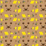 Naadloos patroon met beren, bijen en honing Stock Fotografie