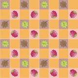 Naadloos patroon met bessen en bladeren. Stock Foto's