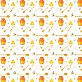 Naadloos patroon met bij en honing Stock Afbeelding