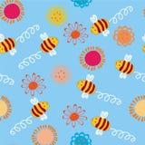 Naadloos patroon met bijen vector illustratie
