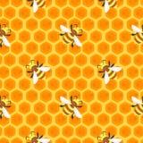 Naadloos patroon met bijen stock illustratie