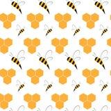 Naadloos patroon met bijen en honingraten royalty-vrije illustratie