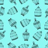 Naadloos patroon met birdcages Stock Fotografie