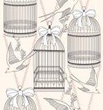 Naadloos patroon met birdcagesbloemen en vogels Stock Foto's