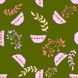 Naadloos patroon met bladelementen en theekopjes Stock Afbeelding