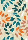 Naadloos Patroon met Bladeren Stock Afbeeldingen