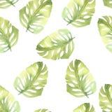 Naadloos patroon met bladeren De hand trekt waterverfillustratie Royalty-vrije Stock Foto's