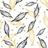 Naadloos patroon met bladeren en abstracte cijfers vector illustratie