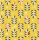 Naadloos patroon met bladeren en bloesems stock illustratie