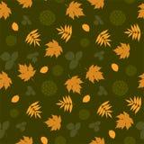Naadloos patroon met bladeren en silhouetten Royalty-vrije Stock Afbeeldingen