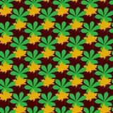 Naadloos patroon met bladeren op groene achtergrond Vector Illustratie