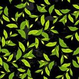 Naadloos patroon met bladeren in uitstekende stijl. royalty-vrije illustratie