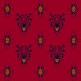 Naadloos patroon met blauw bloemenpatroon op de achtergrond van Bourgondië Stock Afbeeldingen