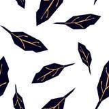 Naadloos patroon met blauwe bladeren op witte achtergrond Heldere tropische achtergrond vector illustratie