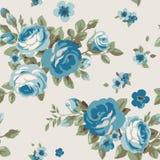 Naadloos patroon met blauwe bloemen Uitstekend bloemenbehang met bloeiende rozen Stock Afbeelding