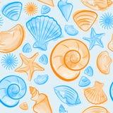 Naadloos patroon met blauwe en oranje zeeschelpen Stock Foto