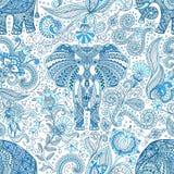 Naadloos patroon met blauwe Indische Olifant stock illustratie
