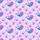 Naadloos patroon met blauwe vogels Gelukkige achtergrond Gelukkige Pasen stock illustratie