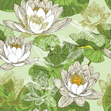 Naadloos patroon met bloeiende waterlelies Stock Afbeelding