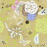 Naadloos patroon met bloemen Stock Afbeeldingen