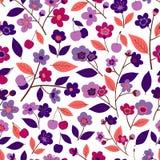 Naadloos patroon met bloemen, bladeren en vruchten van kers vector illustratie