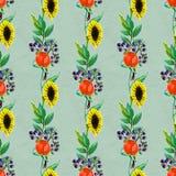 Naadloos patroon met bloemen en bessen Royalty-vrije Stock Afbeelding
