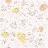 Naadloos patroon met bloemen en bladeren Royalty-vrije Stock Afbeeldingen