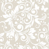 Naadloos patroon met bloemen en bladeren Royalty-vrije Stock Afbeelding
