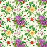 Naadloos patroon met bloemen en bladeren Stock Afbeeldingen