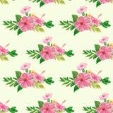 Naadloos patroon met bloemen en bladeren Royalty-vrije Stock Foto