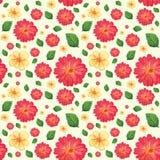Naadloos patroon met bloemen en bladeren Stock Afbeelding