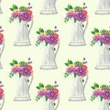 Naadloos patroon met bloemen en bladeren Royalty-vrije Stock Foto's