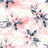 Naadloos patroon met bloemen en bladeren De roze magnolia bloeit en zwarte bladeren en takken royalty-vrije stock foto