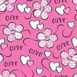 Naadloos patroon met bloemen en harten Stock Afbeeldingen