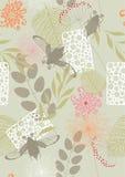 Naadloos Patroon met Bloemen en mei-Insecten Royalty-vrije Stock Afbeelding