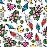 Naadloos patroon met bloemen en veren Stock Foto's