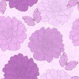Naadloos patroon met bloemen en vlinder Stock Foto