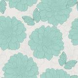 Naadloos patroon met bloemen en vlinder Patroon 08 Hand-drawn contourlijnen en slagen Stock Afbeelding