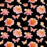 Naadloos patroon met bloemen en vlinders royalty-vrije illustratie