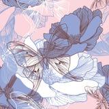 Naadloos patroon met bloemen en vlinders Stock Afbeelding